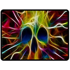 Skulls Multicolor Fractalius Colors Colorful Double Sided Fleece Blanket (large)  by Onesevenart