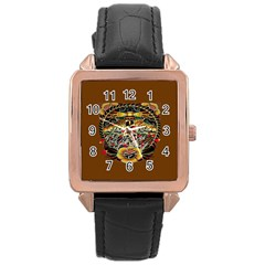 Tattoo Art Print Traditional Artwork Lighthouse Wave Rose Gold Leather Watch  by Onesevenart