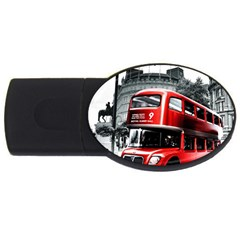 London Bus Usb Flash Drive Oval (2 Gb) by Onesevenart