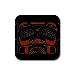 Traditional Northwest Coast Native Art Rubber Square Coaster (4 Pack)  by Onesevenart