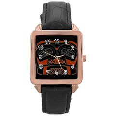 Traditional Northwest Coast Native Art Rose Gold Leather Watch  by Onesevenart