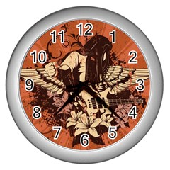 Rock Music Moves Me Wall Clocks (silver)  by Onesevenart