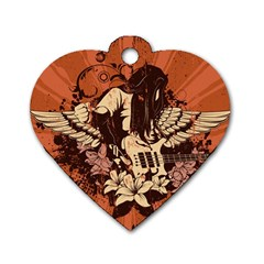 Rock Music Moves Me Dog Tag Heart (two Sides) by Onesevenart