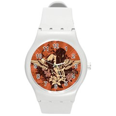 Rock Music Moves Me Round Plastic Sport Watch (m) by Onesevenart