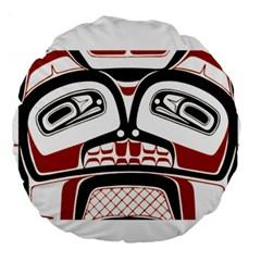 Traditional Northwest Coast Native Art Large 18  Premium Round Cushions by Onesevenart