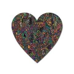 Trees Internet Multicolor Psychedelic Reddit Detailed Colors Heart Magnet by Onesevenart