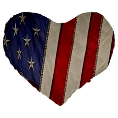 Usa Flag Large 19  Premium Heart Shape Cushions by Onesevenart