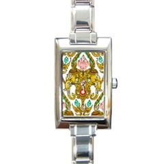 Traditional Thai Style Painting Rectangle Italian Charm Watch by Onesevenart