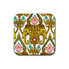 Traditional Thai Style Painting Rubber Square Coaster (4 Pack)  by Onesevenart