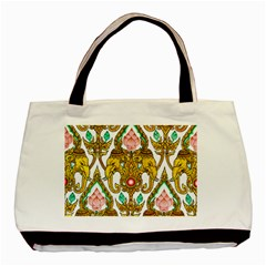 Traditional Thai Style Painting Basic Tote Bag (two Sides) by Onesevenart