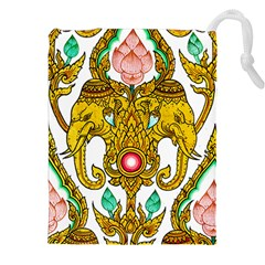 Traditional Thai Style Painting Drawstring Pouches (xxl) by Onesevenart