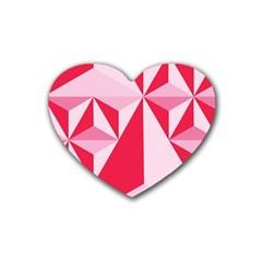 3d Pattern Experiments Rubber Coaster (heart)  by Onesevenart