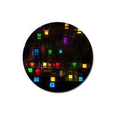 Abstract 3d Cg Digital Art Colors Cubes Square Shapes Pattern Dark Magnet 3  (round) by Onesevenart
