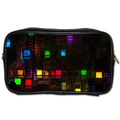 Abstract 3d Cg Digital Art Colors Cubes Square Shapes Pattern Dark Toiletries Bags 2 Side by Onesevenart