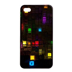 Abstract 3d Cg Digital Art Colors Cubes Square Shapes Pattern Dark Apple Iphone 4/4s Seamless Case (black) by Onesevenart