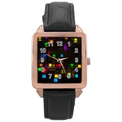 Abstract 3d Cg Digital Art Colors Cubes Square Shapes Pattern Dark Rose Gold Leather Watch  by Onesevenart