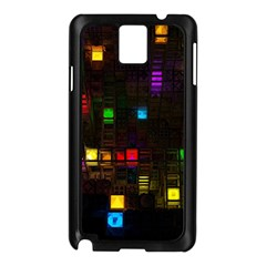 Abstract 3d Cg Digital Art Colors Cubes Square Shapes Pattern Dark Samsung Galaxy Note 3 N9005 Case (black) by Onesevenart