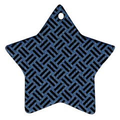 Woven2 Black Marble & Blue Denim (r) Star Ornament (two Sides) by trendistuff