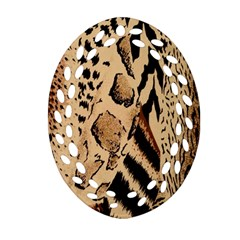 Animal Fabric Patterns Oval Filigree Ornament (two Sides) by Onesevenart