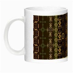 African Style Vector Pattern Night Luminous Mugs by Onesevenart