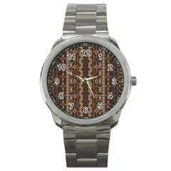 African Style Vector Pattern Sport Metal Watch by Onesevenart