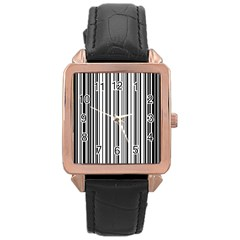 Barcode Pattern Rose Gold Leather Watch  by Onesevenart