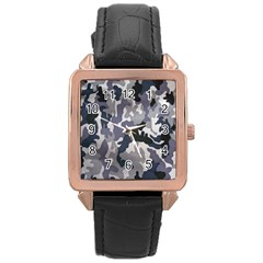 Army Camo Pattern Rose Gold Leather Watch  by Onesevenart