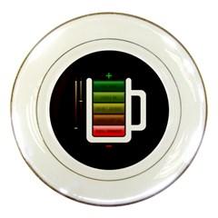 Black Energy Battery Life Porcelain Plates by Onesevenart