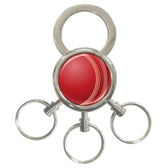 Cricket Ball 3 Ring Key Chains by Onesevenart