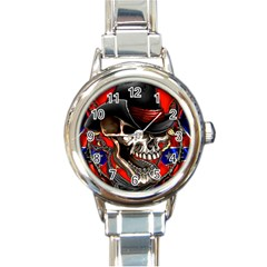 Confederate Flag Usa America United States Csa Civil War Rebel Dixie Military Poster Skull Round Italian Charm Watch by Onesevenart