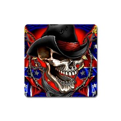 Confederate Flag Usa America United States Csa Civil War Rebel Dixie Military Poster Skull Square Magnet by Onesevenart
