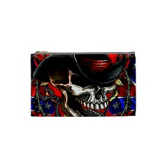 Confederate Flag Usa America United States Csa Civil War Rebel Dixie Military Poster Skull Cosmetic Bag (small)  by Onesevenart