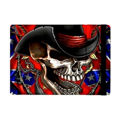 Confederate Flag Usa America United States Csa Civil War Rebel Dixie Military Poster Skull Apple Ipad Mini Flip Case by Onesevenart