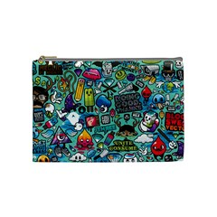Comics Collage Cosmetic Bag (medium)  by Onesevenart