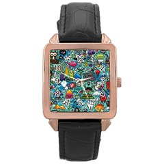 Comics Collage Rose Gold Leather Watch  by Onesevenart