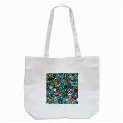 Comics Collage Tote Bag (White) by Onesevenart