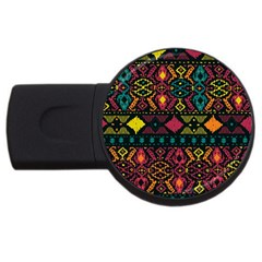Ethnic Pattern Usb Flash Drive Round (4 Gb) by Onesevenart