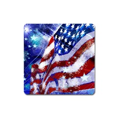 Flag Usa United States Of America Images Independence Day Square Magnet by Onesevenart
