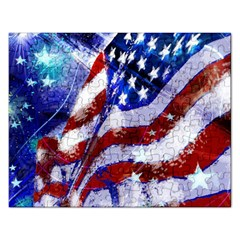 Flag Usa United States Of America Images Independence Day Rectangular Jigsaw Puzzl by Onesevenart
