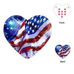Flag Usa United States Of America Images Independence Day Playing Cards (heart)  by Onesevenart