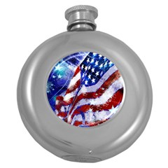 Flag Usa United States Of America Images Independence Day Round Hip Flask (5 Oz) by Onesevenart