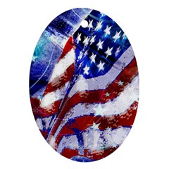 Flag Usa United States Of America Images Independence Day Oval Ornament (two Sides) by Onesevenart
