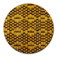 Golden Pattern Fabric Round Mousepads by Onesevenart