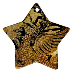 Golden Colorful The Beautiful Of Art Indonesian Batik Pattern Ornament (star) by Onesevenart