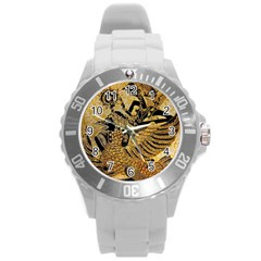 Golden Colorful The Beautiful Of Art Indonesian Batik Pattern Round Plastic Sport Watch (l) by Onesevenart