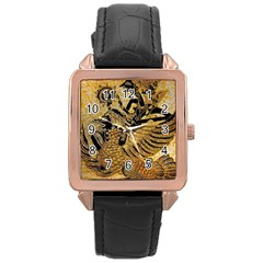 Golden Colorful The Beautiful Of Art Indonesian Batik Pattern Rose Gold Leather Watch  by Onesevenart