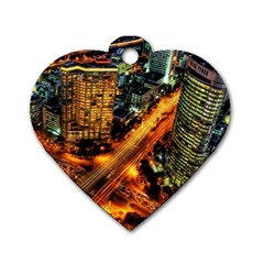 Hdri City Dog Tag Heart (two Sides) by Onesevenart