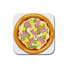 Pizza Clip Art Rubber Square Coaster (4 Pack)  by Onesevenart