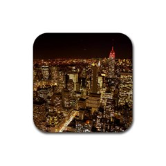 New York City At Night Future City Night Rubber Square Coaster (4 Pack)  by Onesevenart