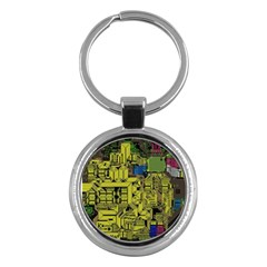 Technology Circuit Board Key Chains (round)  by Onesevenart